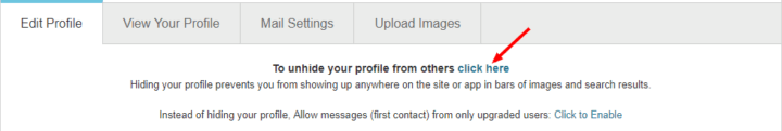 unhide your profile on POF