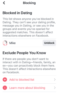 Facebook Dating Blocking