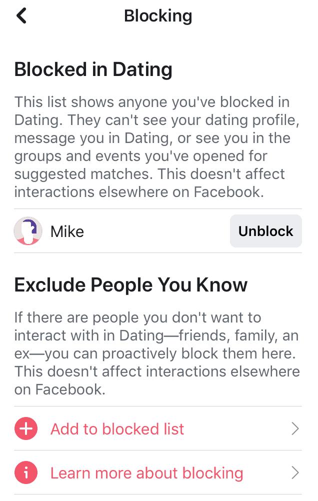 Facebook Dating Blocking