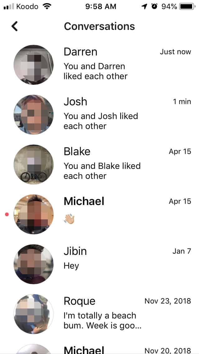 Facebook Dating conversations
