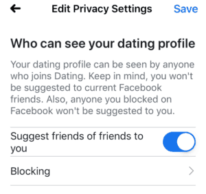 Facebook dating privacy settings