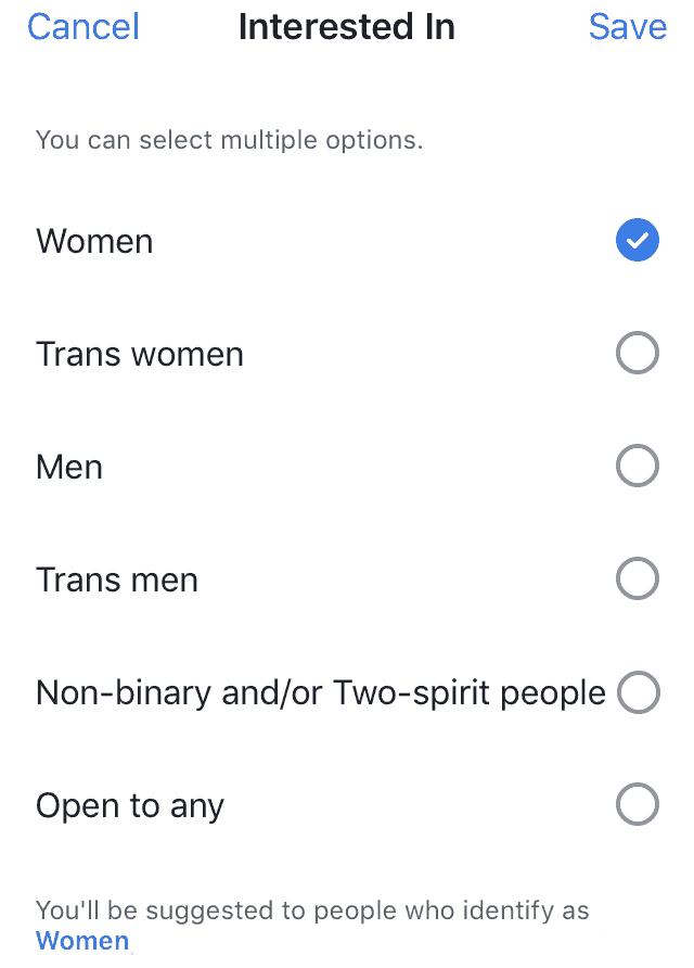 facebook dating gender selection