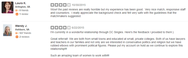 Matchmaking services dc reviews
