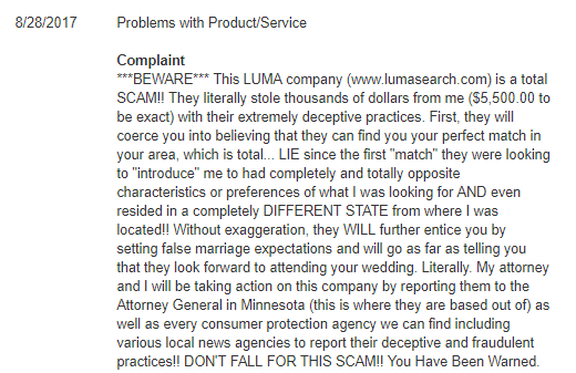 Luma luxury matchmaking bbb complaints