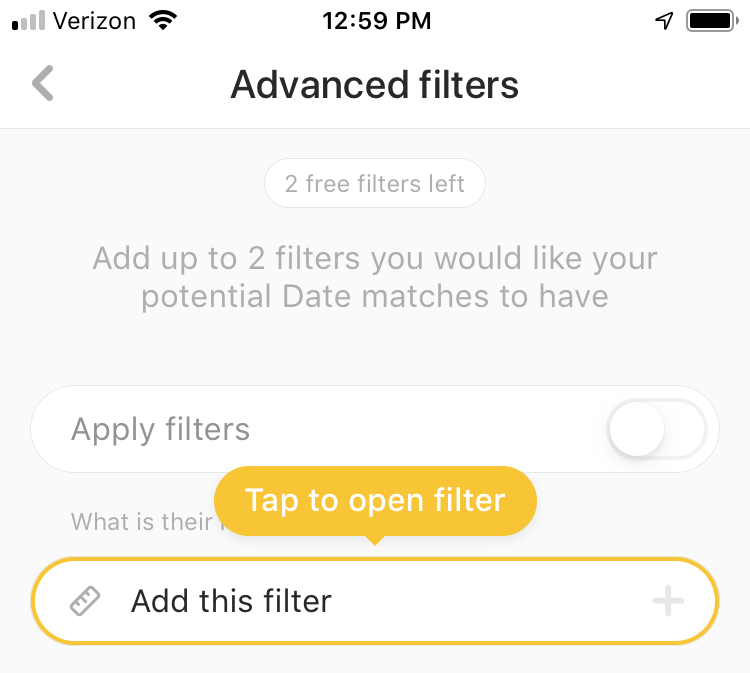 Bumble Advanced Filter