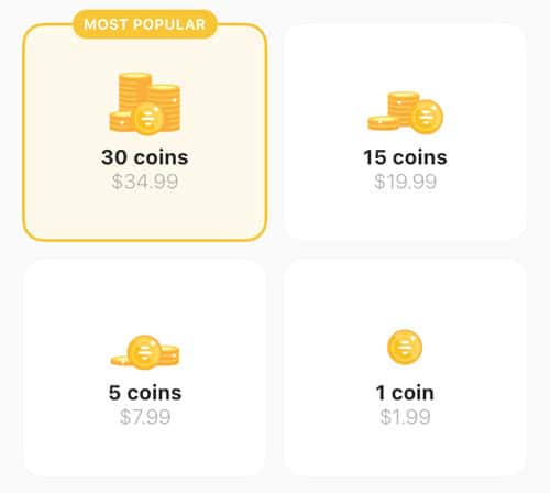 Bumble coins cost