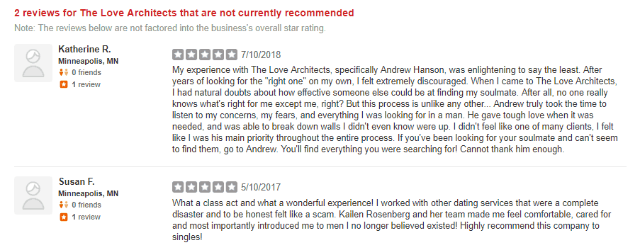 kailen rosenberg matchmaking yelp reviews
