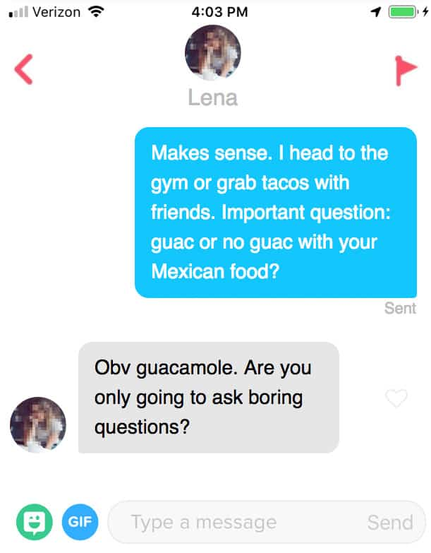 negative response on tinder