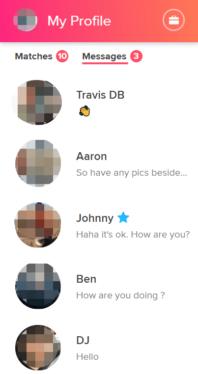 Tinder web messages