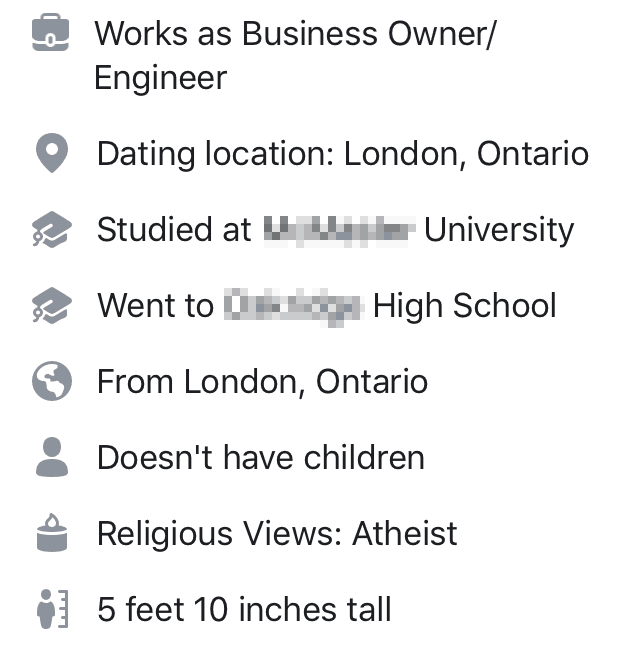 details shown on your Facebook Dating profile