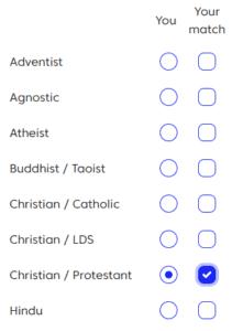 match christian preference