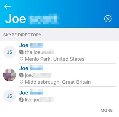 Skype directory