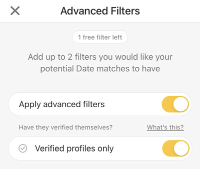 Advanced Filters on Bumble