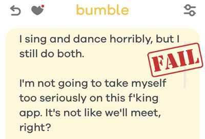 Bumble profile mistake example