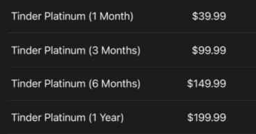 Tinder Platinum cost