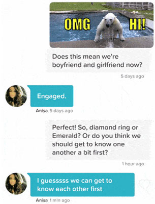 Tinder message example with a cute