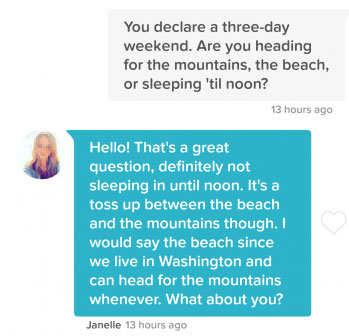 first message to send to any match on Tinder
