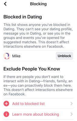 Facebook Dating blocking settings