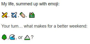 Bumble profile example using emoji