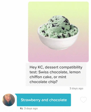 Tinder dessert compatibility test to send a woman you like
