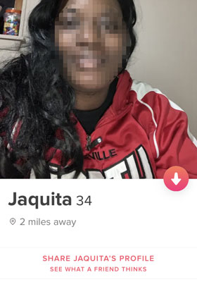 Tinder profile with very little information in it.