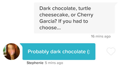 Tinder line that mentions delicious desserts