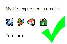 Good Tinder bio example with emoji