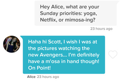 Line about weekend priorities to send on Tinder