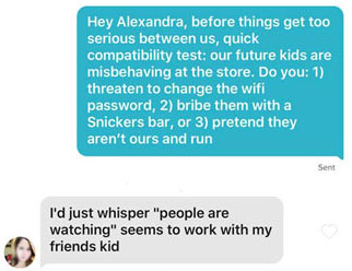 Funny Tinder question about future children