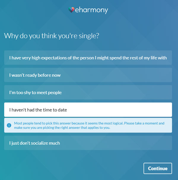 eHarmony answer advice