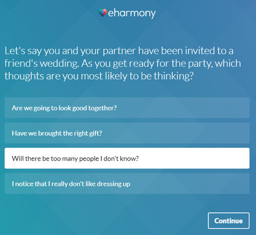 eHarmony compatibility question example